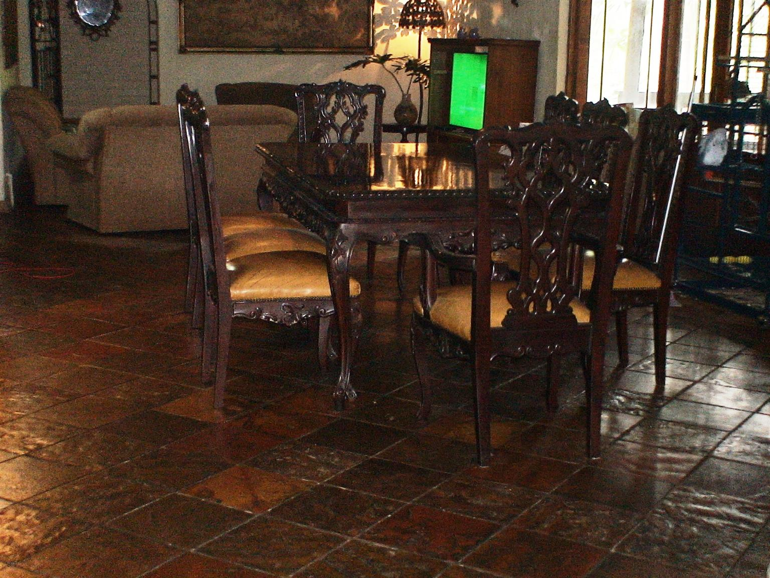 A Leather & Wood Dining Suite 8 Chairs Table 2 Side Servers Hand-Crafted