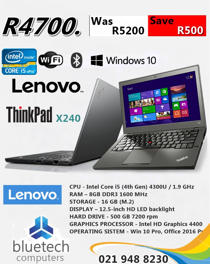 Lenovo ThinkPad X240 - Intel Core i5-4300U, 8GB ram, 500GB HDD, Bluetech  Computers | Junk Mail