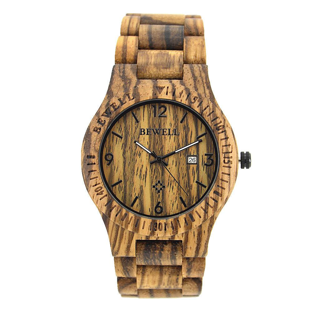Bewell Retro Bamboo Zebra Wood Watch