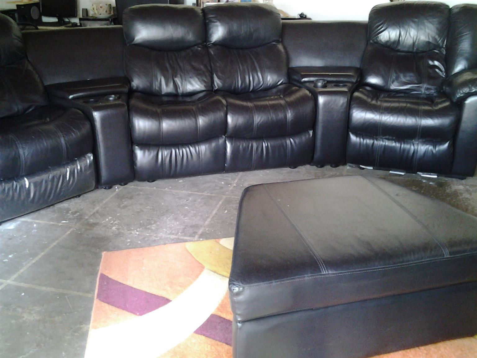 6 Piece genuine leather lounge suite for sale