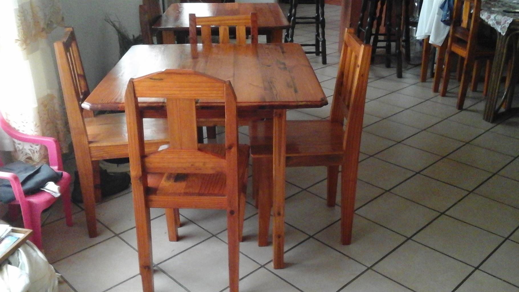 Cozy Coffe Shop  4 seater varnished Pine Tables for Sale.