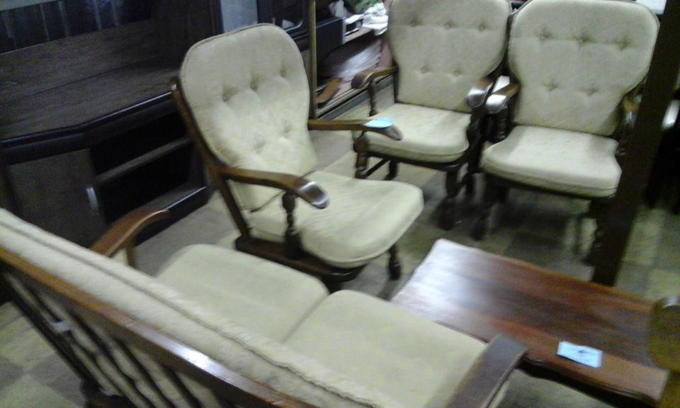 Antique white cushion lounge suite