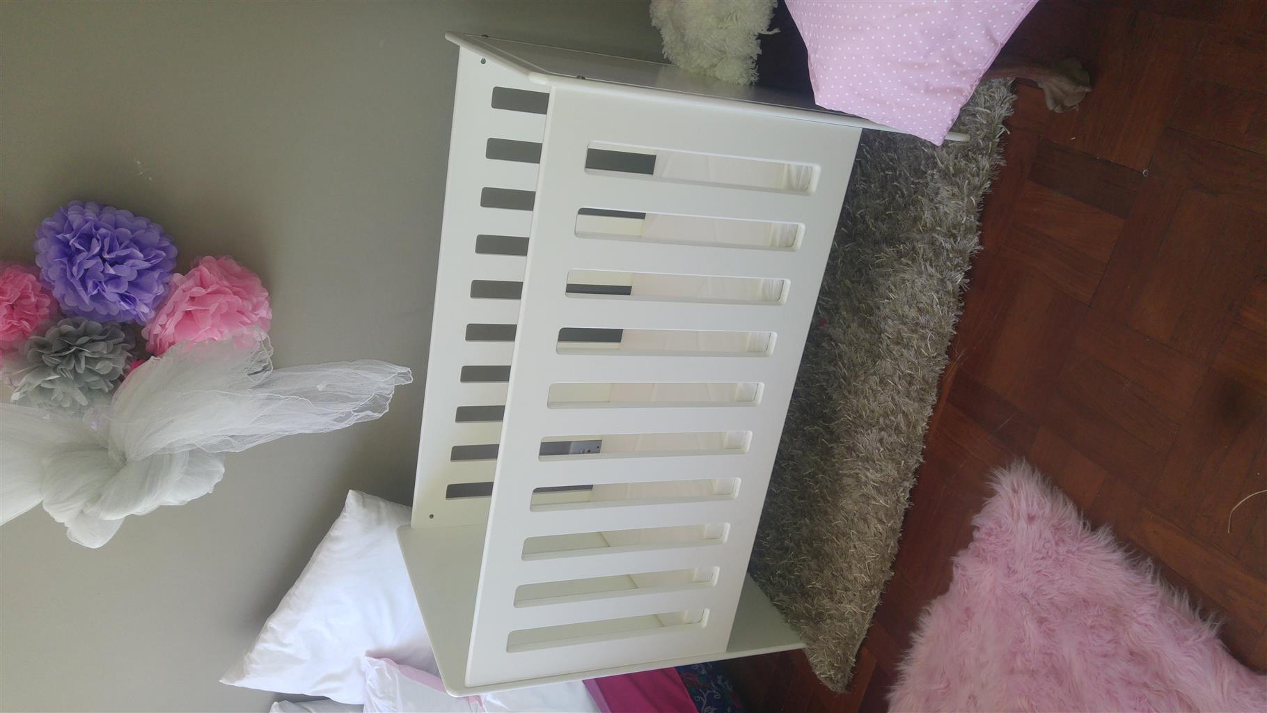 white Wood Cot with bedding and mattress