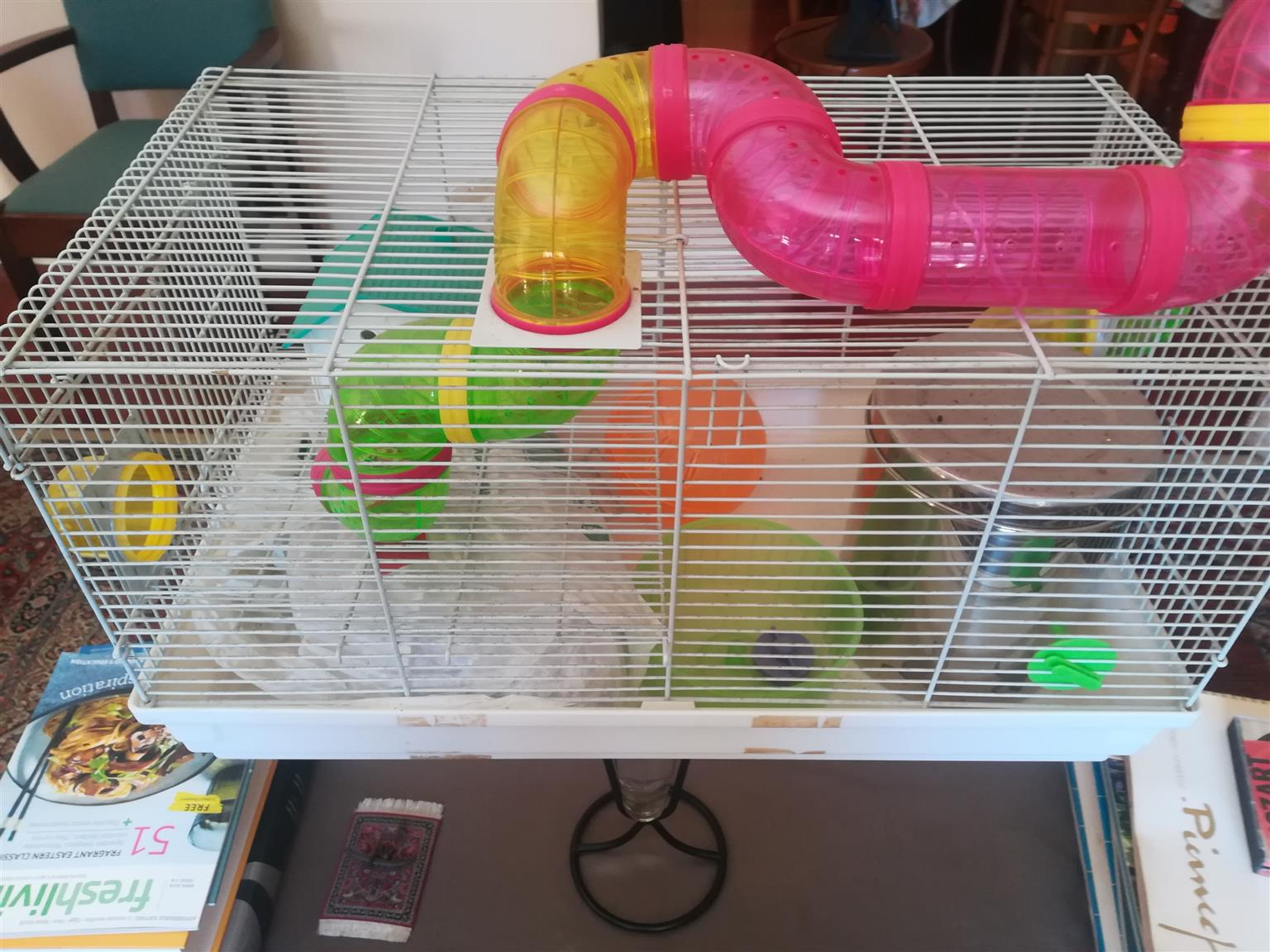 Mouse / Rat  cage  with exercise wheel  and sleep pipe