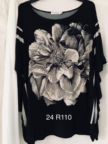 Black top with big white flower