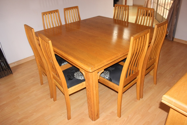 Dining Room Suite (Solid Oak) Table, 8 Chairs, Side Board
