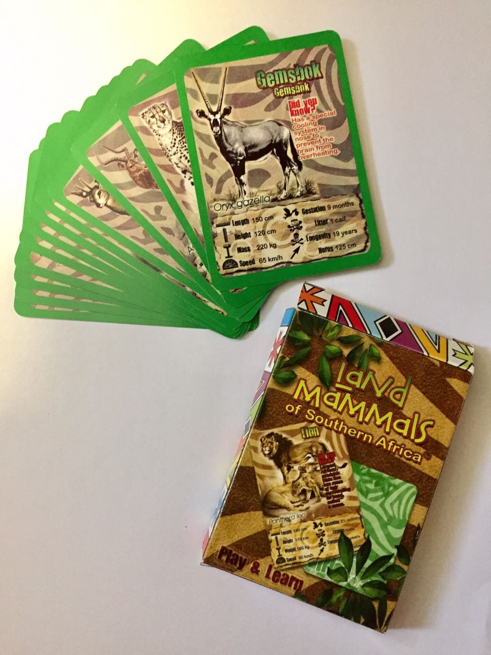 Trump card game: Land Mammals of Southern Africa. Play and Learn, great fun! 500 packets.