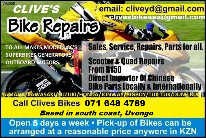 Bike Repairs; scooters,roadbikes,superbikes,quads,chinese,imported spares @chris bike imports