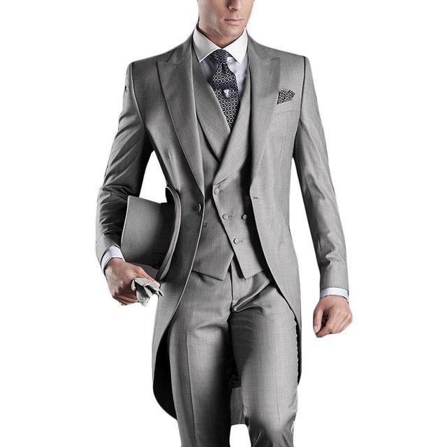 Popular Italian Men's Wedding Tuxedo (Jacket+Pants+Vest) XS-6XL