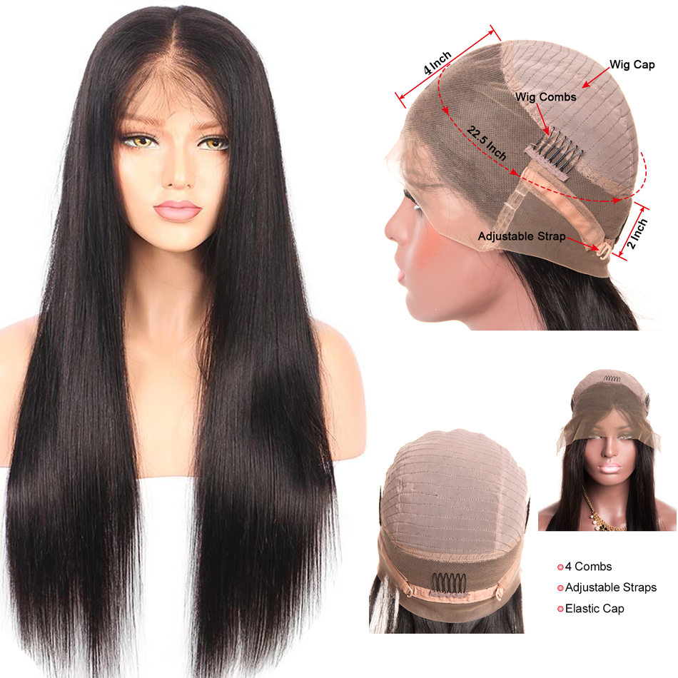 100% human hair straight 360 full lace wigs 22inch