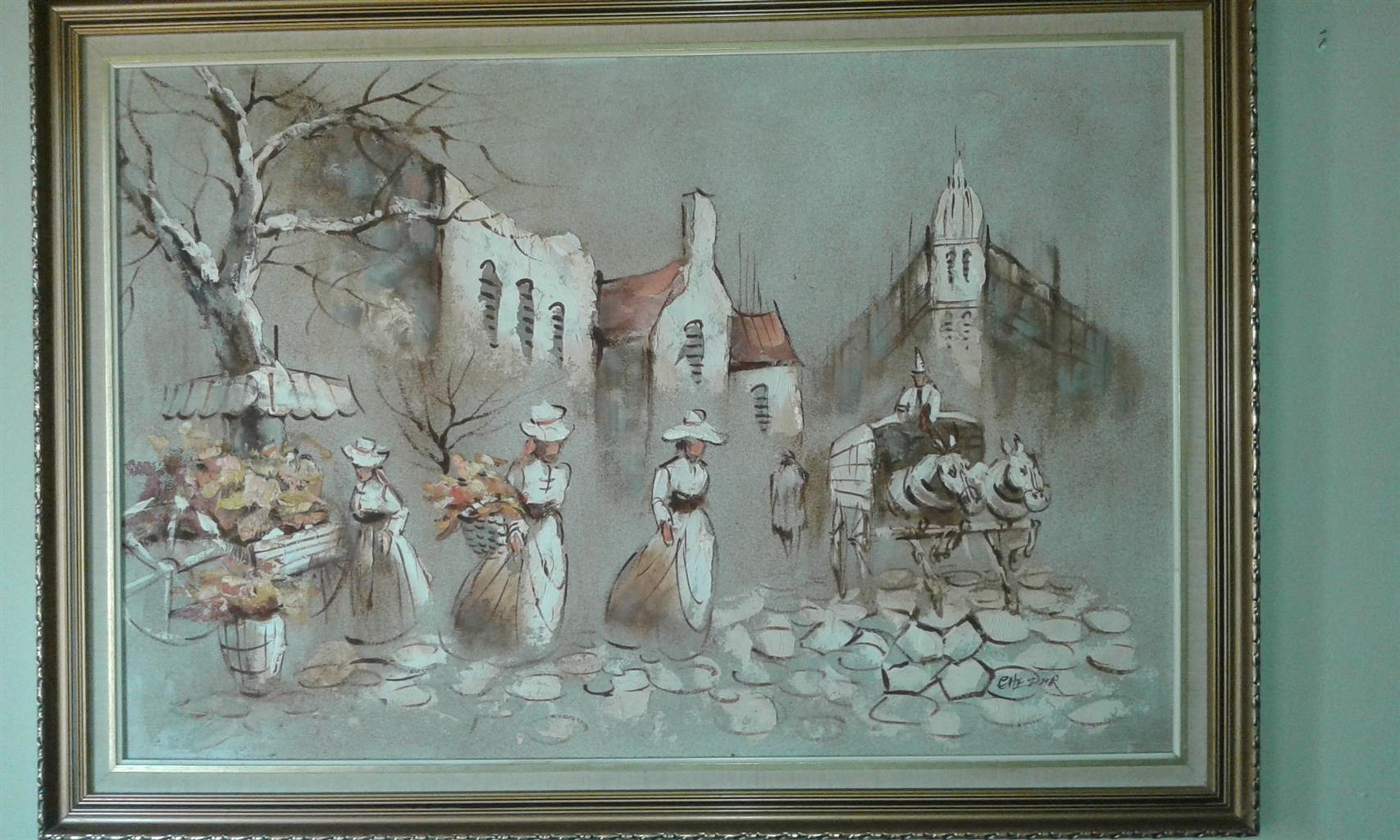 original boris chezar oil sand painting