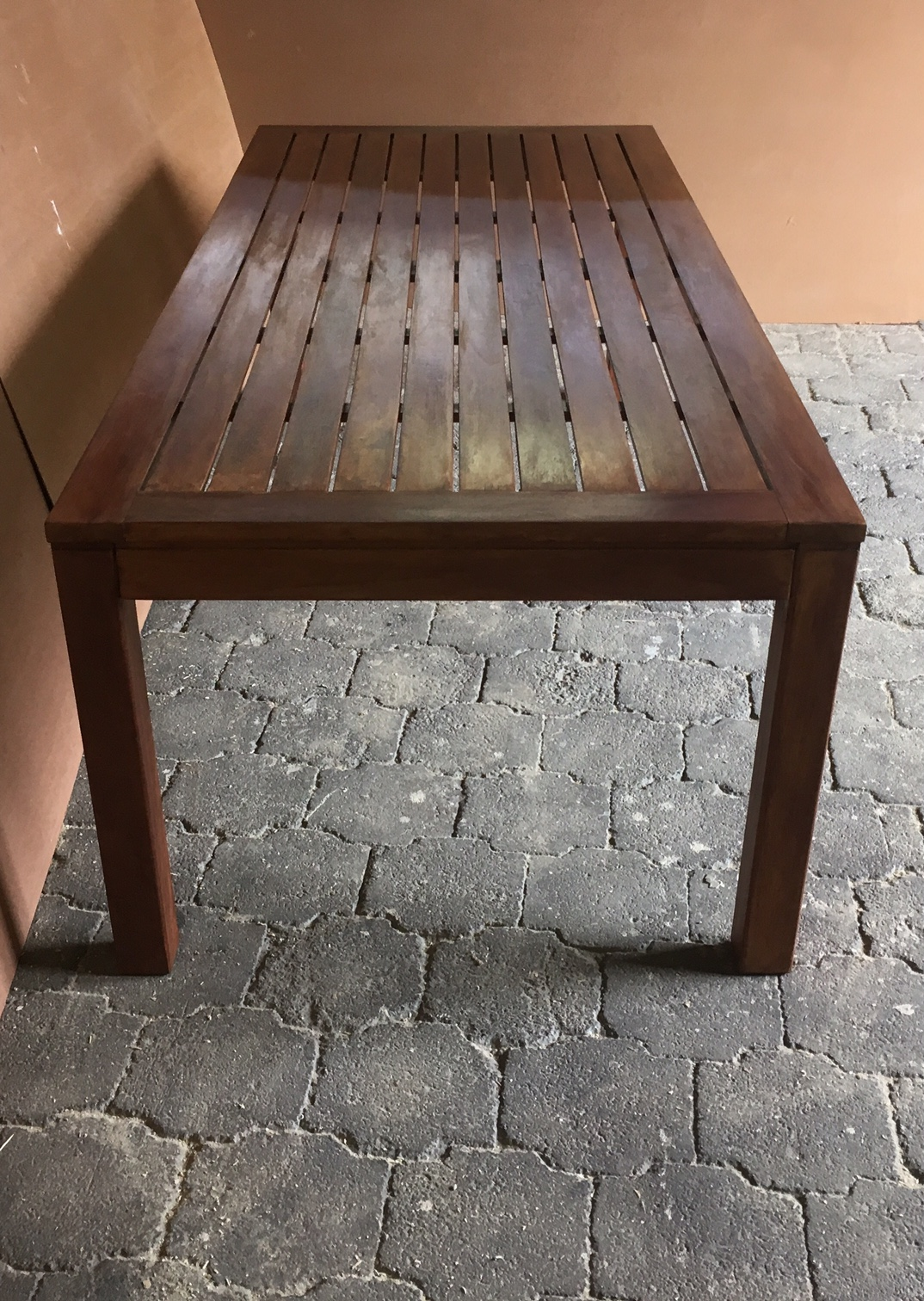 Patio table Cottage series 2300 slatted strips Stained