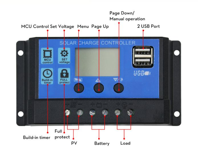 Solar Charge Controller with USB (12V/24V) 30A - BEST BUY