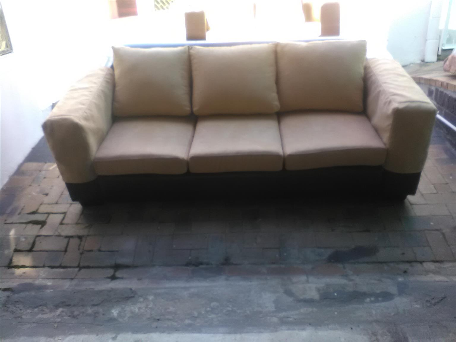 Set of 3 item: Single, double, triple (1, 2, 3) sofas leather and Fabric in excellent condition, new upholstery.