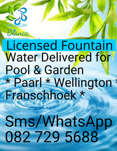 Order Fountain Water today for Pool or Garden - Blanca Water, Paarl, Western Cape