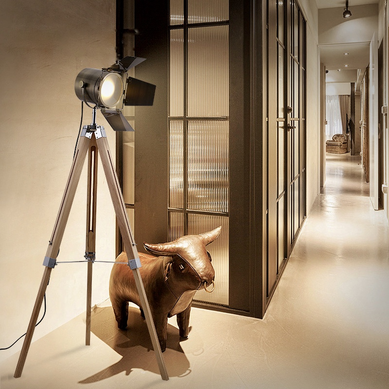 Floor Lamps - Stylish industrial loft style - Tripod, Orange Baked, Stem