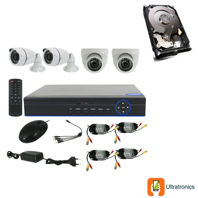 Full HD AHD CCTV Kit - 4 Channel CCTV DIY camera system - 2 Dome and 2 Bullet Cameras plus 500 GB Hard Drive