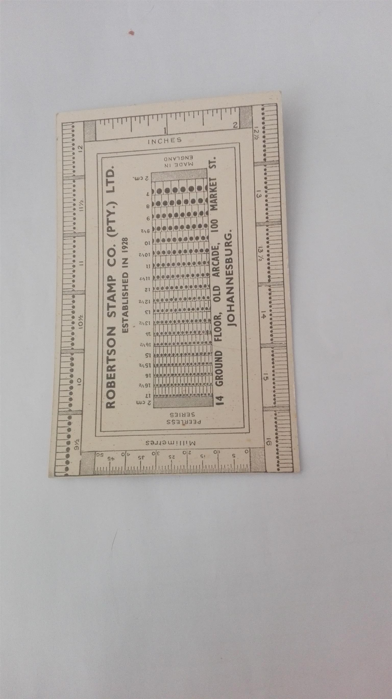 Stamp measurement card for old stamps