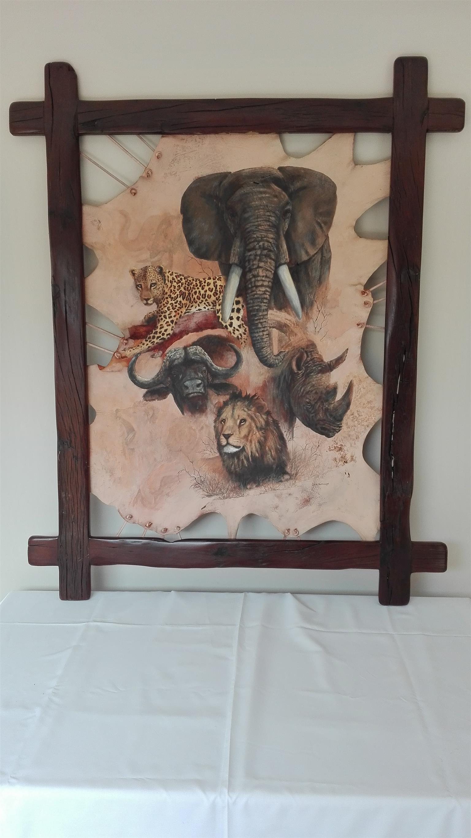 Unique Big Five leather art piece