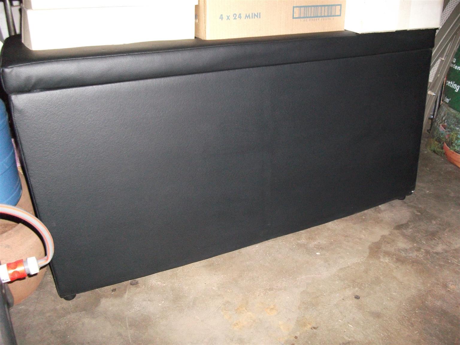 Large Ottoman Linen Storage Box Solid Wooden Frame Black