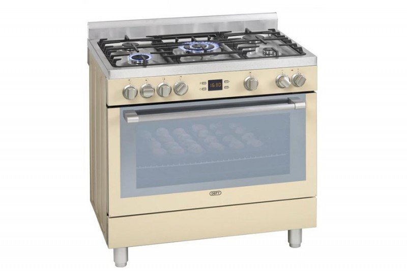 Buy DEFY 900mm 5 Burner Gas Electric Stove Cream