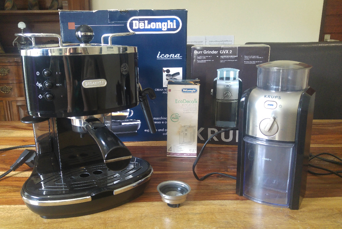 Delonghi Icona Espresso and Cuppuccino Coffee Maker & Krups Burr Coffee Grinder