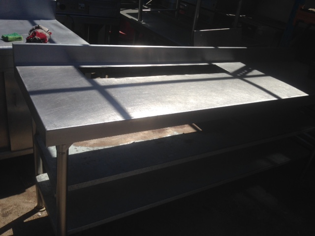 2,3m stainless steel tables with cut outs