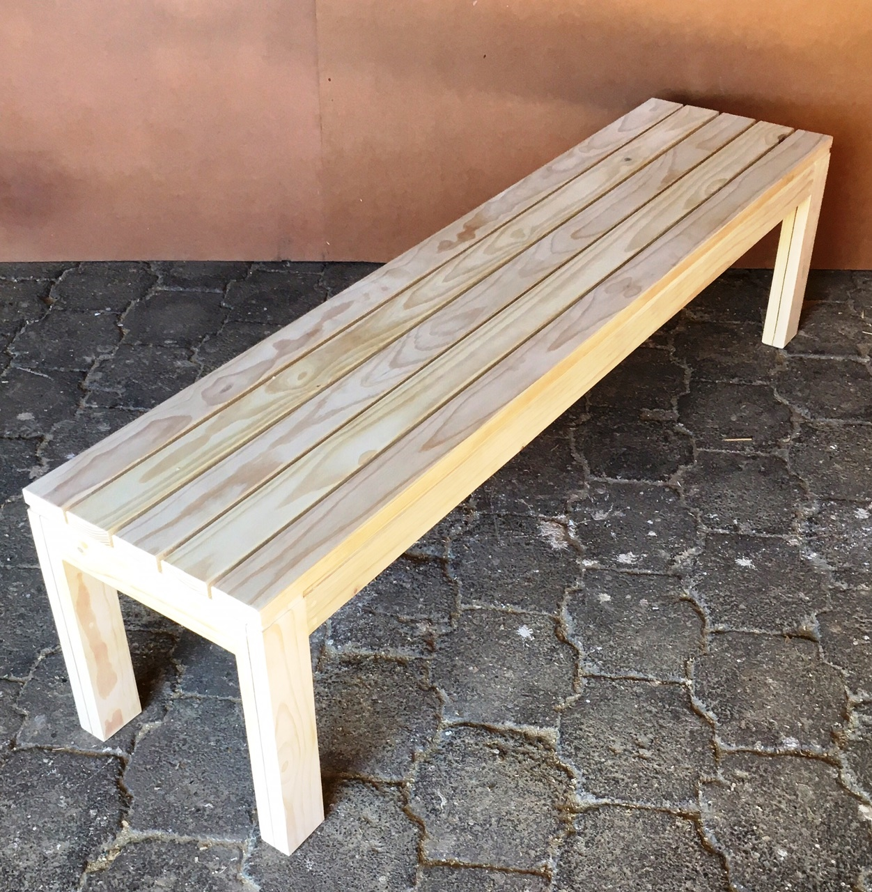 Patio bench Cottage series 1710 Slatted strips Raw