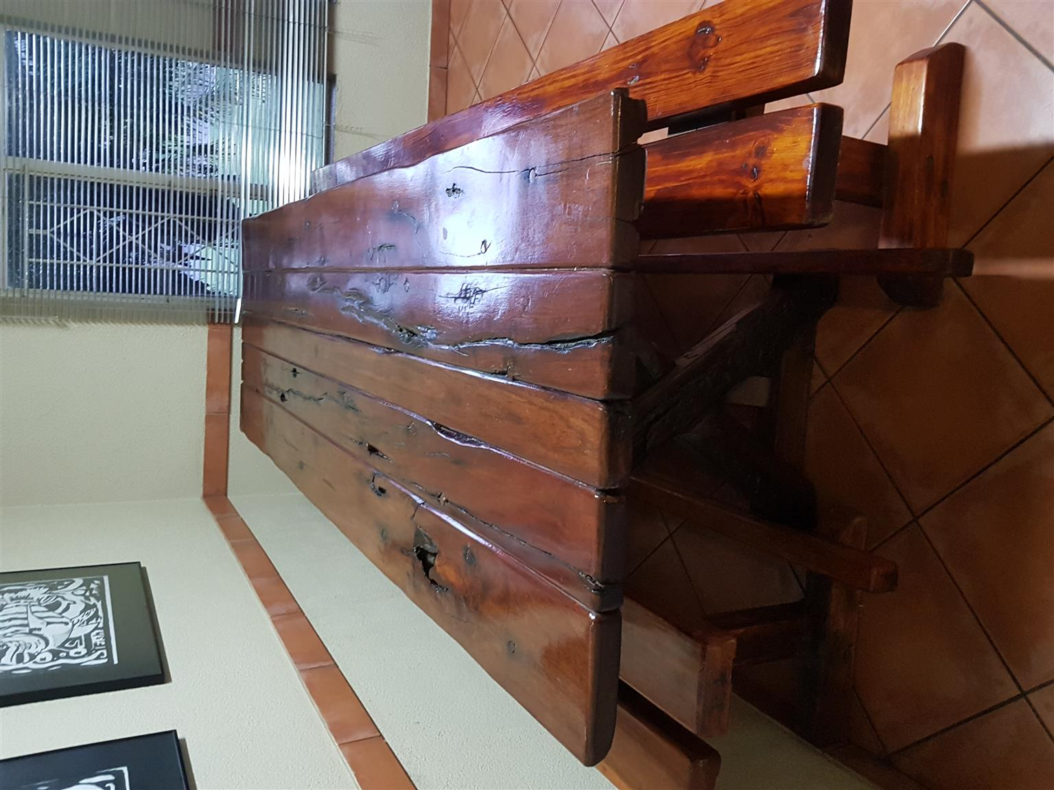 Sleeper wood table and benches