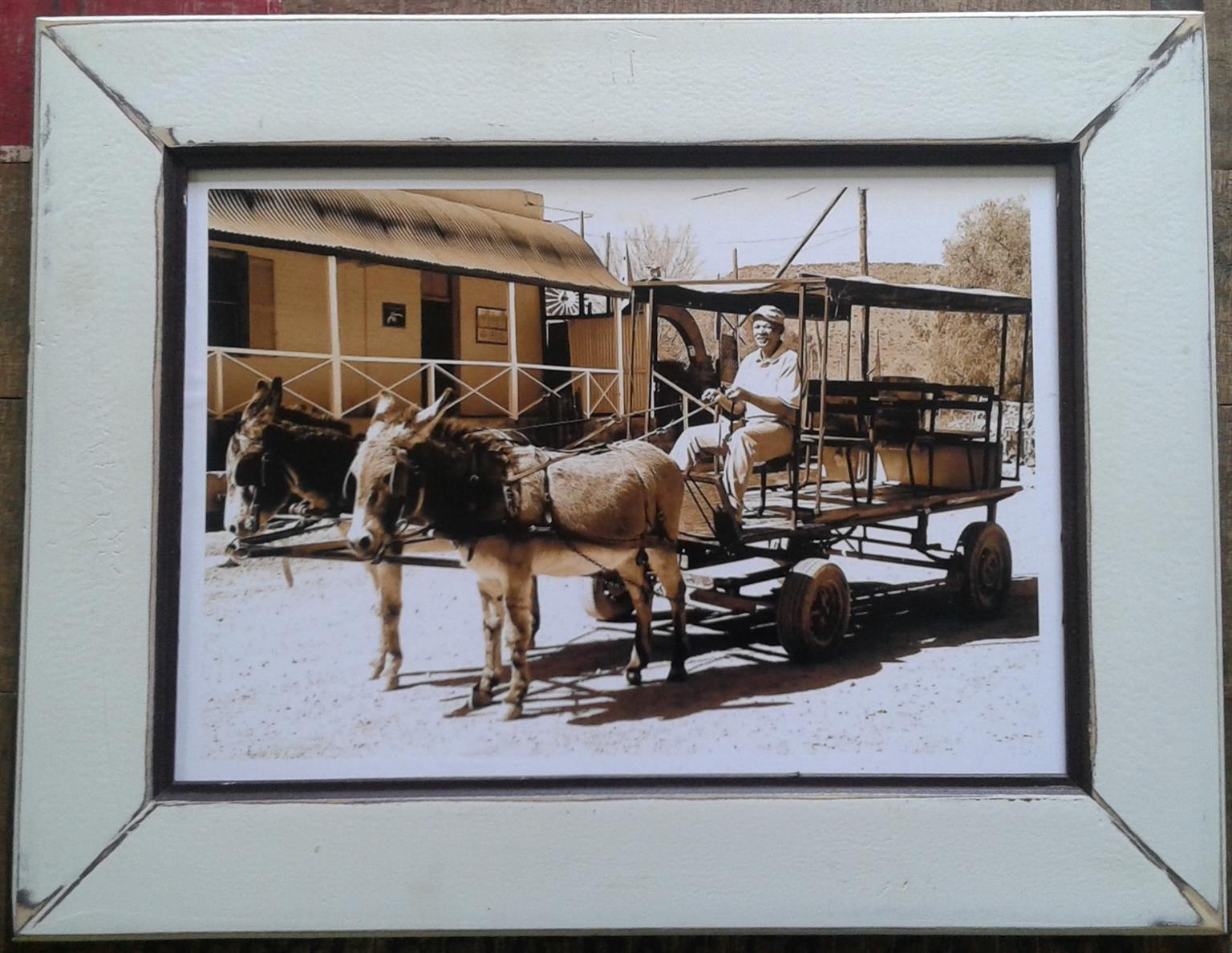 Framed Print: Donkey Cart. Home decor. Wall Art.