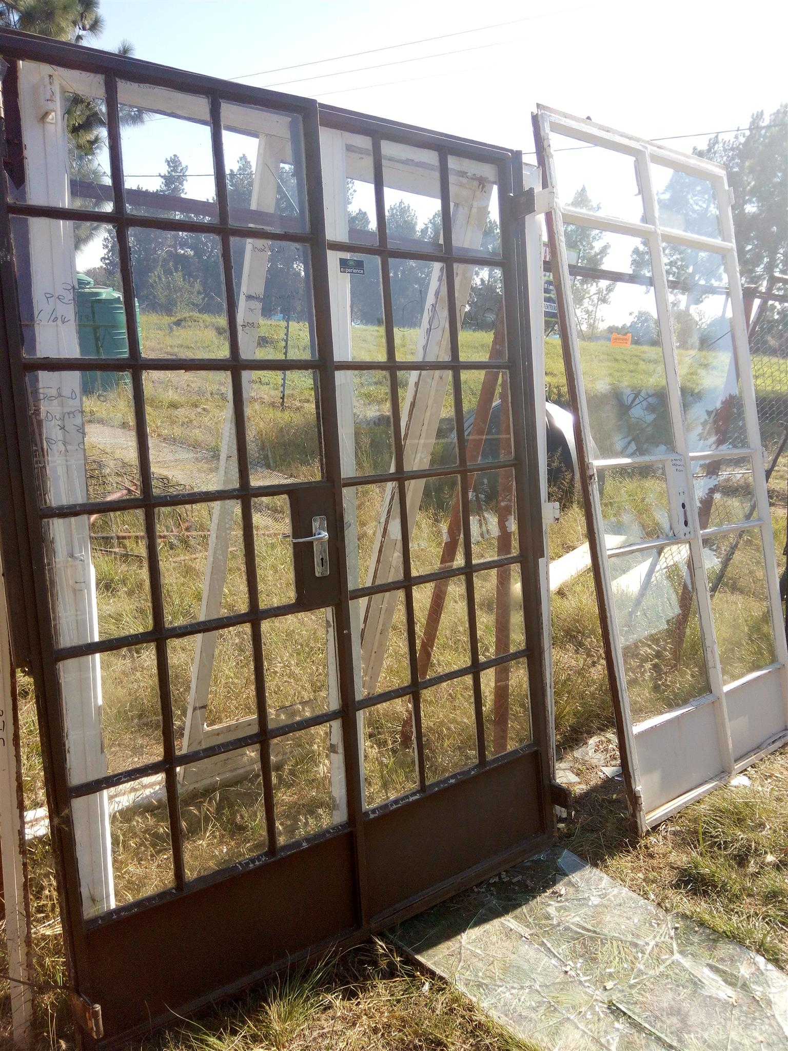 Double steel cottage pane french doors