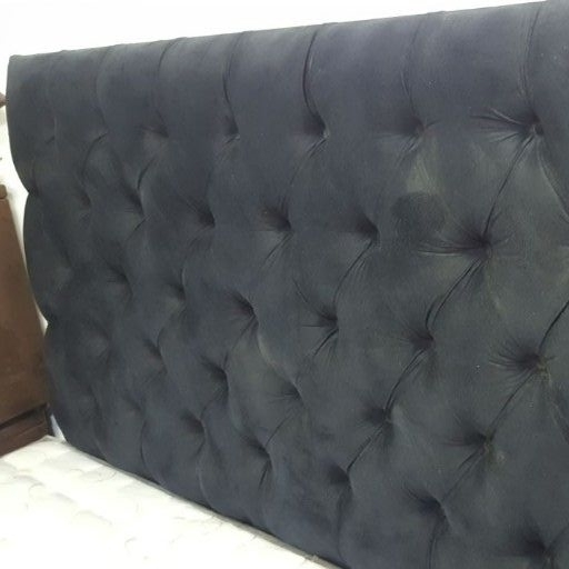 New Queen suede button headboard set Black