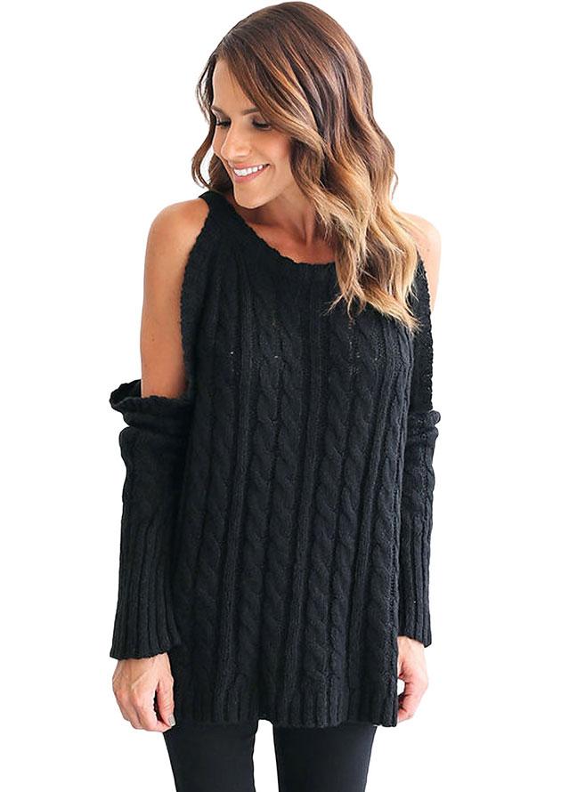 Open Shoulder Black Knit Sweater