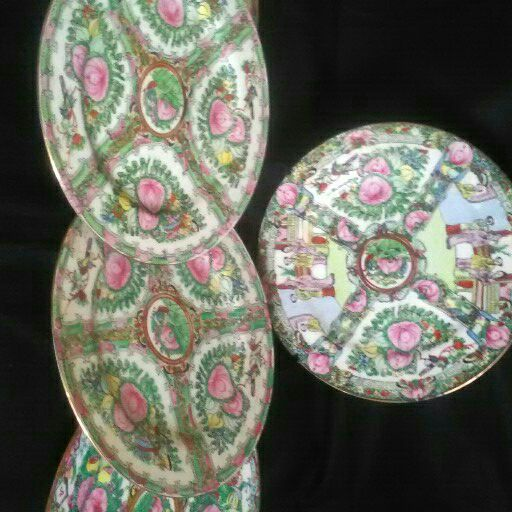 5 Hand painted Chinese plates late 1800