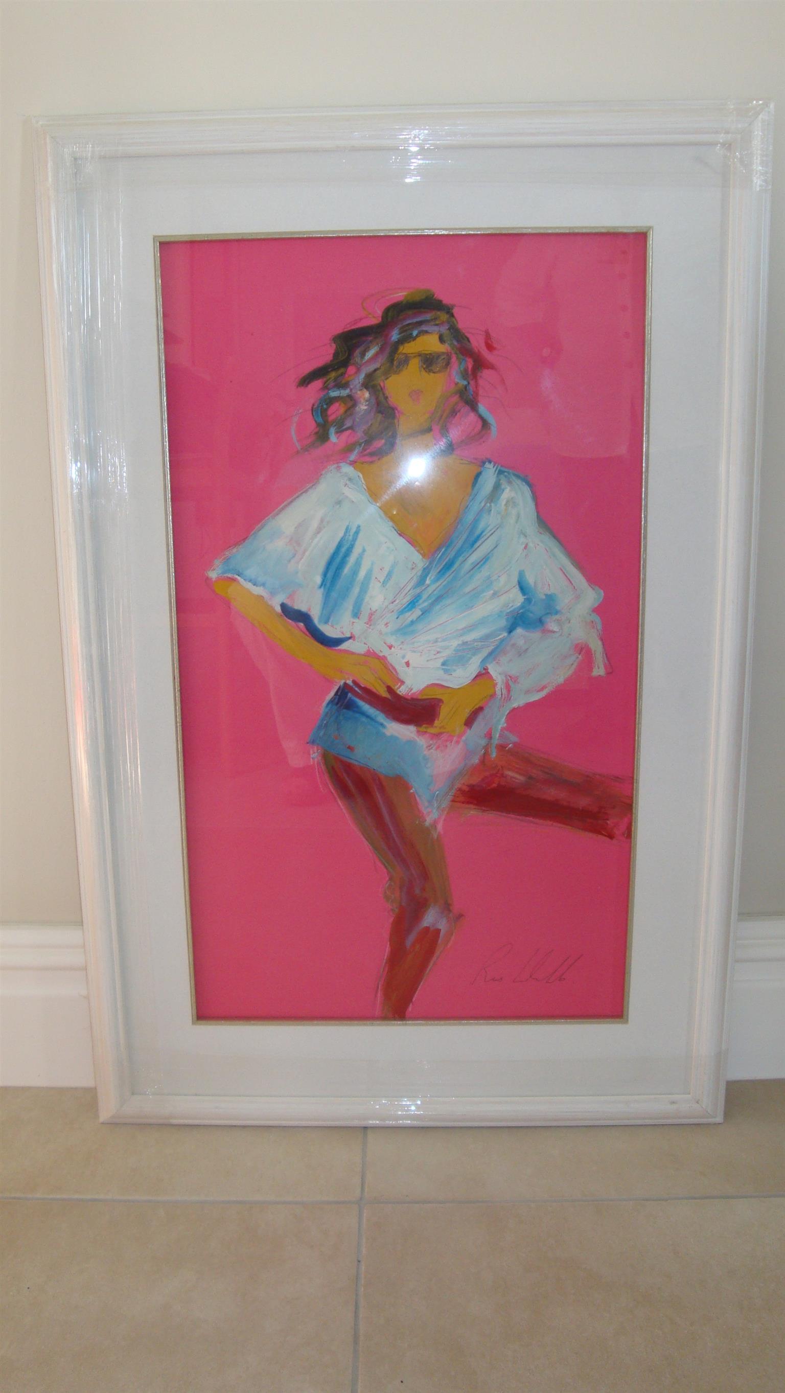 Affordable, original and framed art by Irish artist Ros Webb - modern dancer on pink background