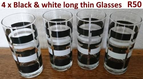 4 Black and white long thin glasses