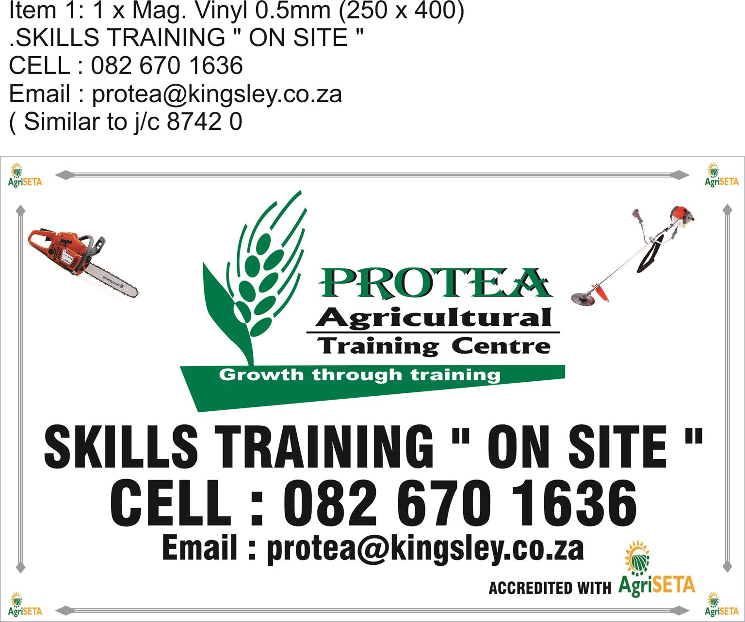 """Agricultural skills training courses:-""""On site"""""""