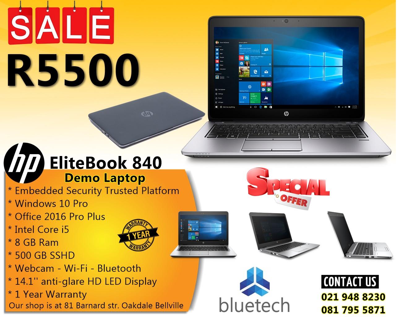 "Demo HP EliteBook 840  - 14"" HD Screen - Core i5  - 8GB RAM - 500GB SSHD – Bluetech 0219488230"