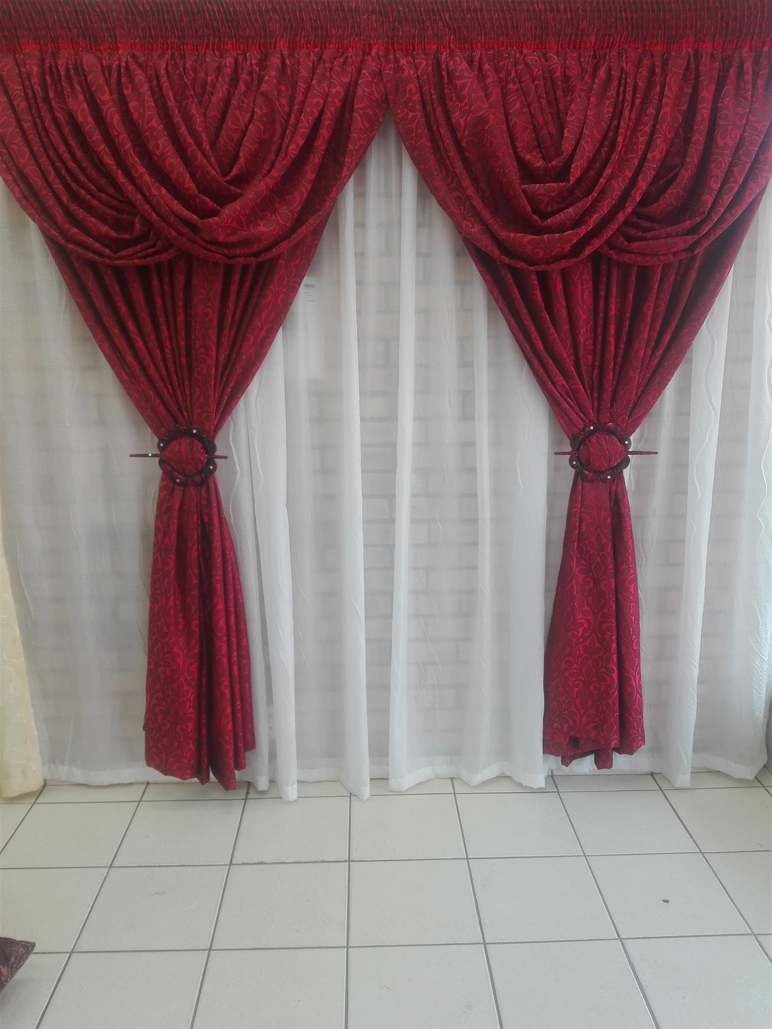 designer curtains,and bathroom set.