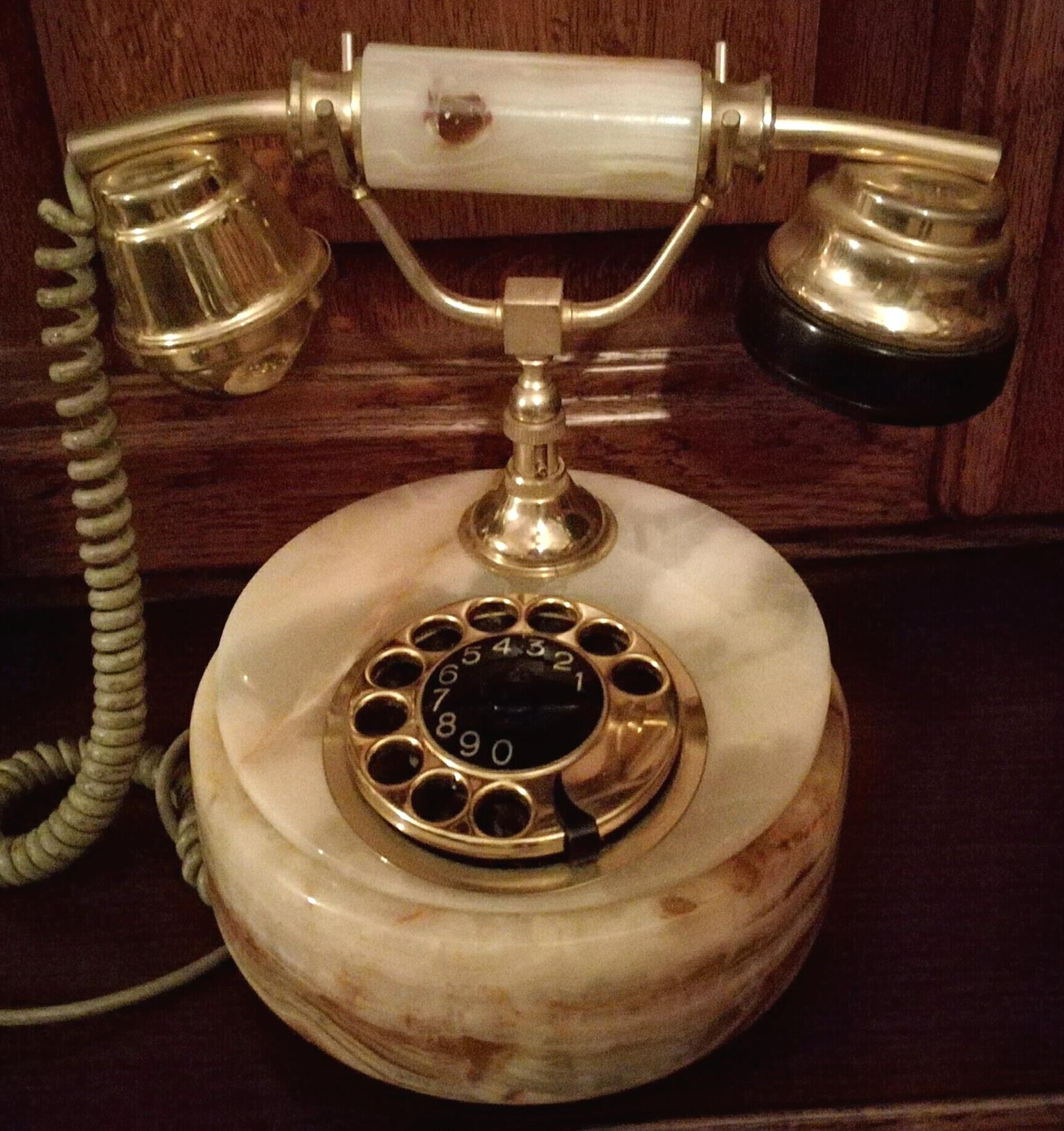 Rare Antique Marble Rotary Dial Telephone