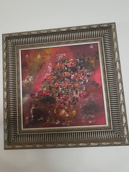 Maroon flower painting
