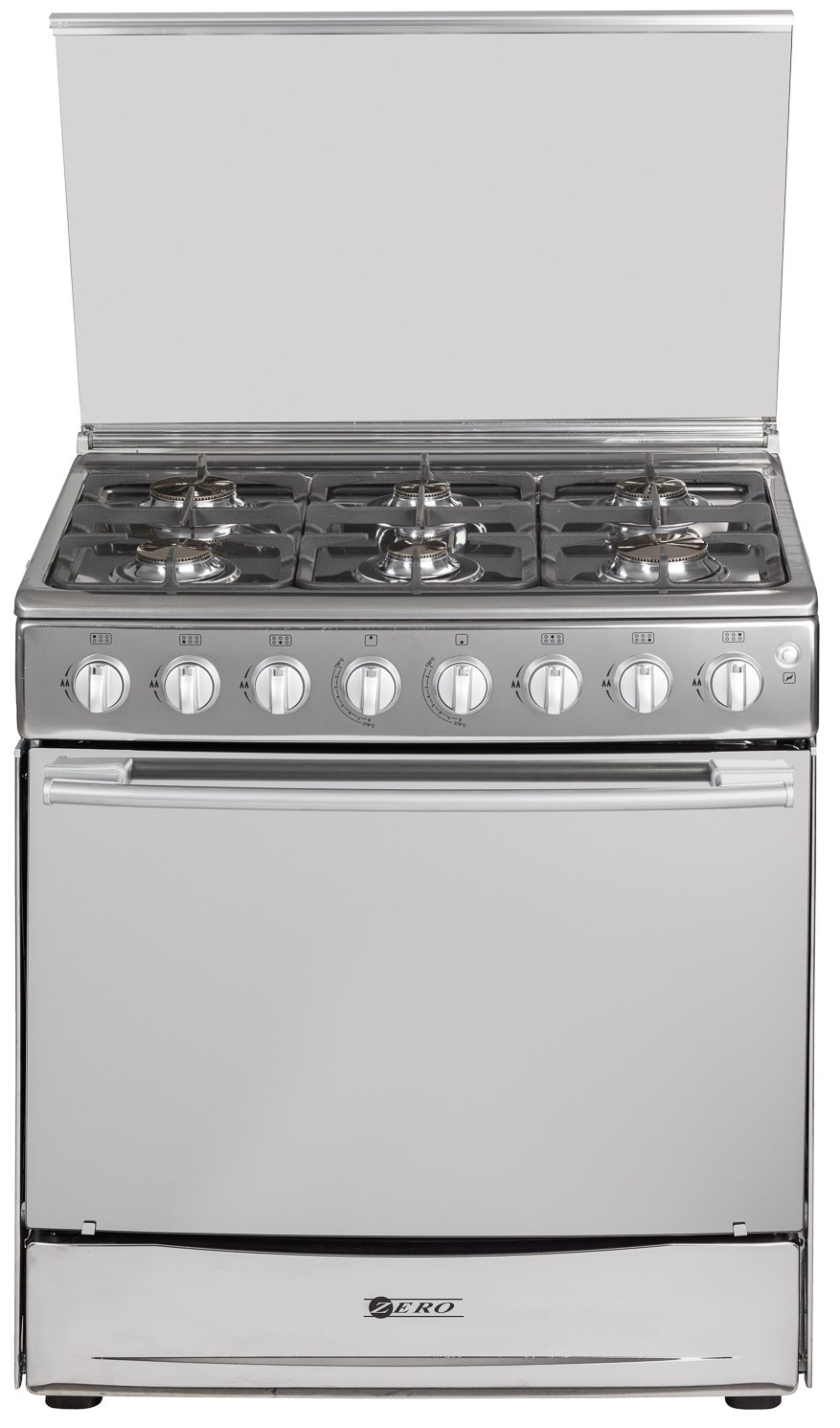 Zero 6 burner Stainless Steel Gas stove with Gas oven and Grill