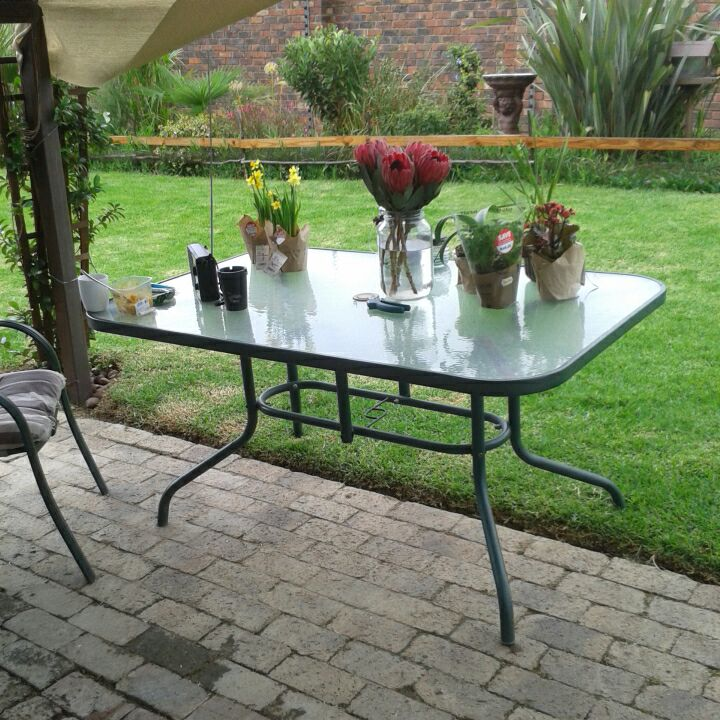 Steel and Glass Garden Table