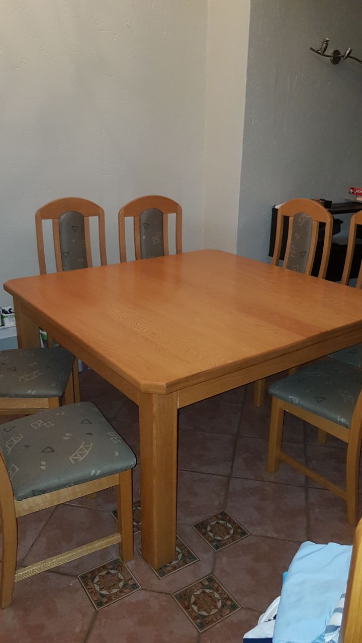 8 Seater Square Solid Oak Dining Table And Chairs Junk Mail