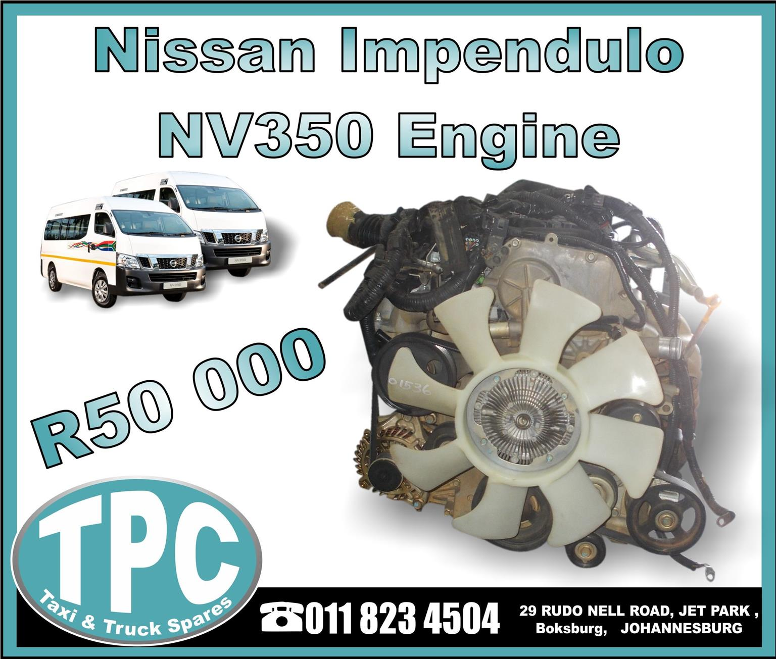 Nissan Impendulo NV350 Engine - Used Replacement Parts.