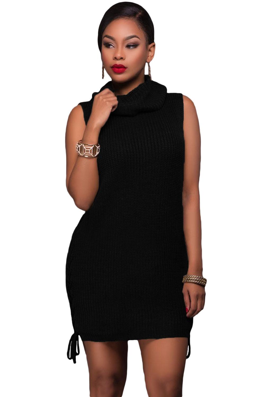Black Lace-up Sides Sweater Dress