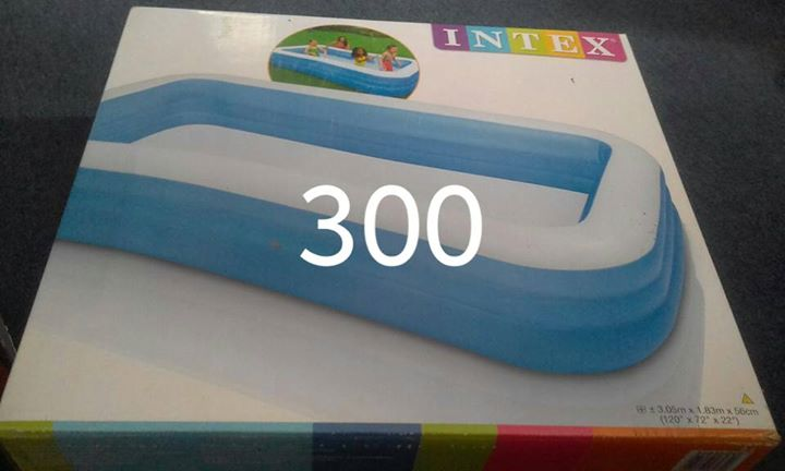Blue inflatable pool