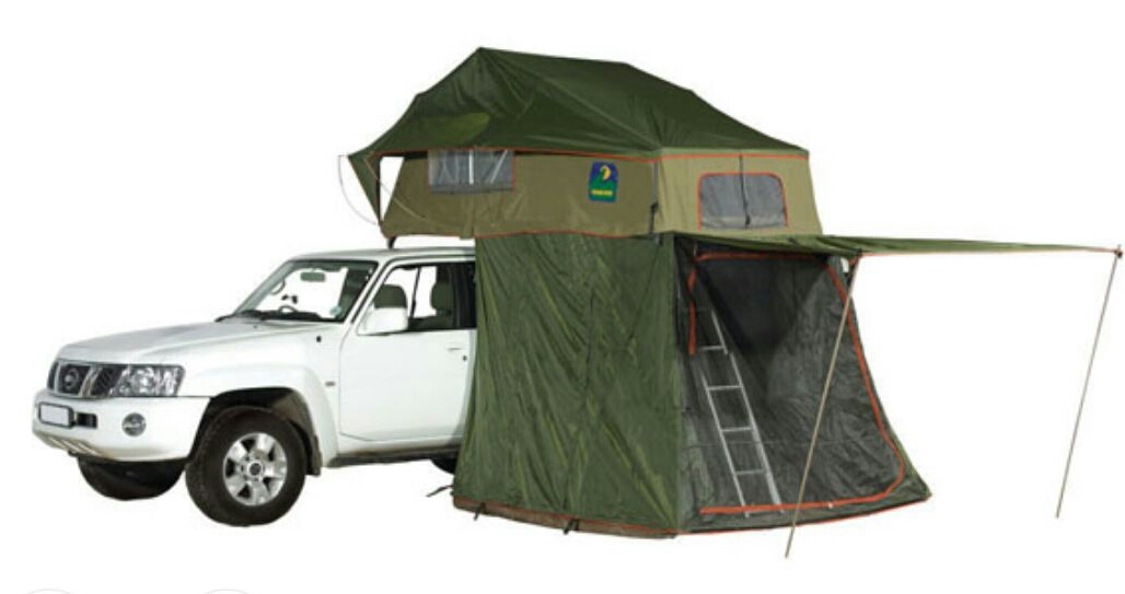 Extension tent under roof top tent