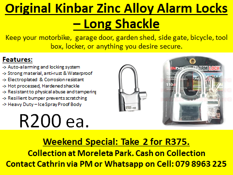 KINBAR ZINC ALLOY ALARM LOCKS & CABLE LOCKS