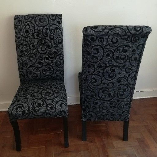 new set of 6 grey fabric dining chairs